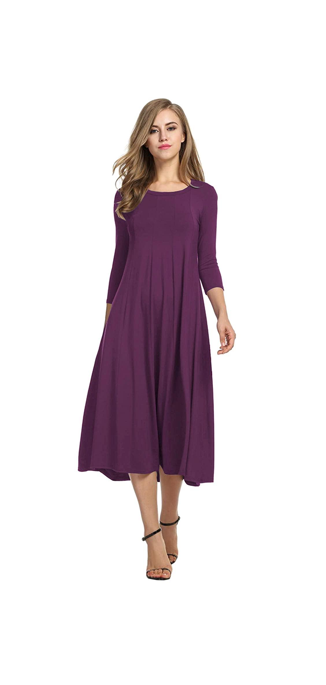 Women's / Sleeve A-line And Flare Midi Long Dress