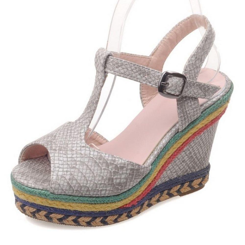 LongFengMa Women Platform High Heel Sandals Peep Toe Flatform Wedges Shoes B01HMTAF56 US8=24.5cm=EUR39 Gray