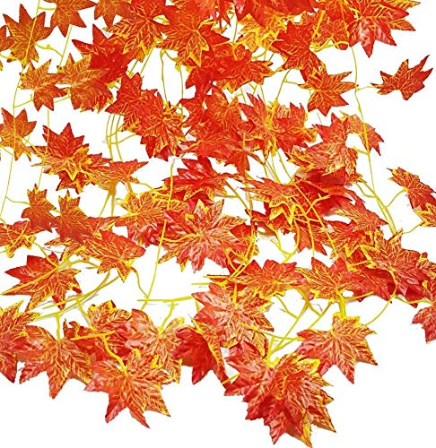Fall Maple Garland Artificial Fall Foliage Garland Autumn Hanging Fall Leave Vines for Home Garden Wedding Party Thanksgiving Dinner Fireplace Door Frame Doorway Backdrop Decor (Maple/12 Strands) from ELINSON