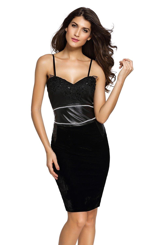 AIWEIYi Womens Black Leather Bralette Shoulder Strap Sleeveless Club Dress