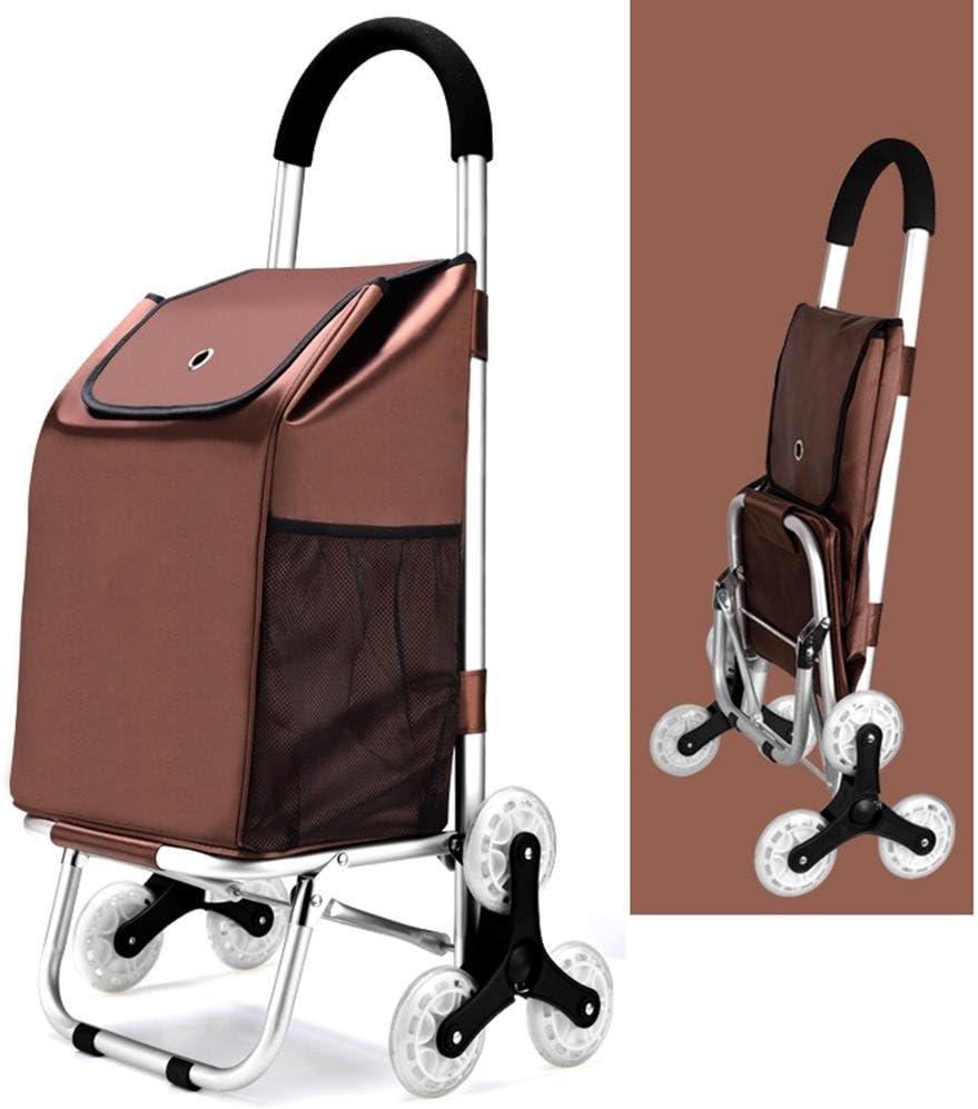 XYLUCKY Carrito de compra plegable de la Tri-rueda, carro de la utilidad de la cesta de la aleación de aluminio de la escalada que sube con los cojinetes de la rueda para subir y bajar las escaleras