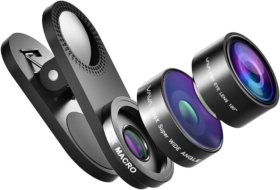 Objetivo Smartphone Lens Kit 3 en 1 VAVA con soporte Reflector (15 x lente macro, 0,36 x gran angular y fish-eye 180 °) adaptado al viaje iPhone 7/se/6/6 Plus/5S/5 C, Galaxy S7/S6/Note,
