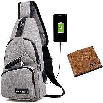 Zumeca Bolsa de hombre con una cartera, bandolera para hombre con puerto de carga USB, ligera, casual, bolsa de hombro para niño, para escalada al ...