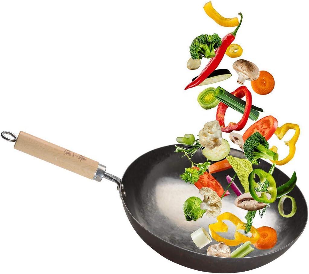Less Oil ZhenSanHuan Chinese Hand Hammered Iron Woks and Stir Fry Pans Wood Handle 章丘铁锅,舌尖上的中国,A bite of China No Coating Non-stick Seasoned 32CM