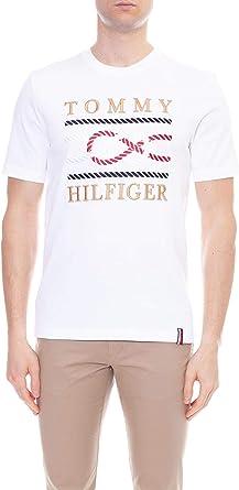 Tommy Hilfiger - Camiseta de hombre blanca con bordado marino: Amazon.es: Ropa y accesorios