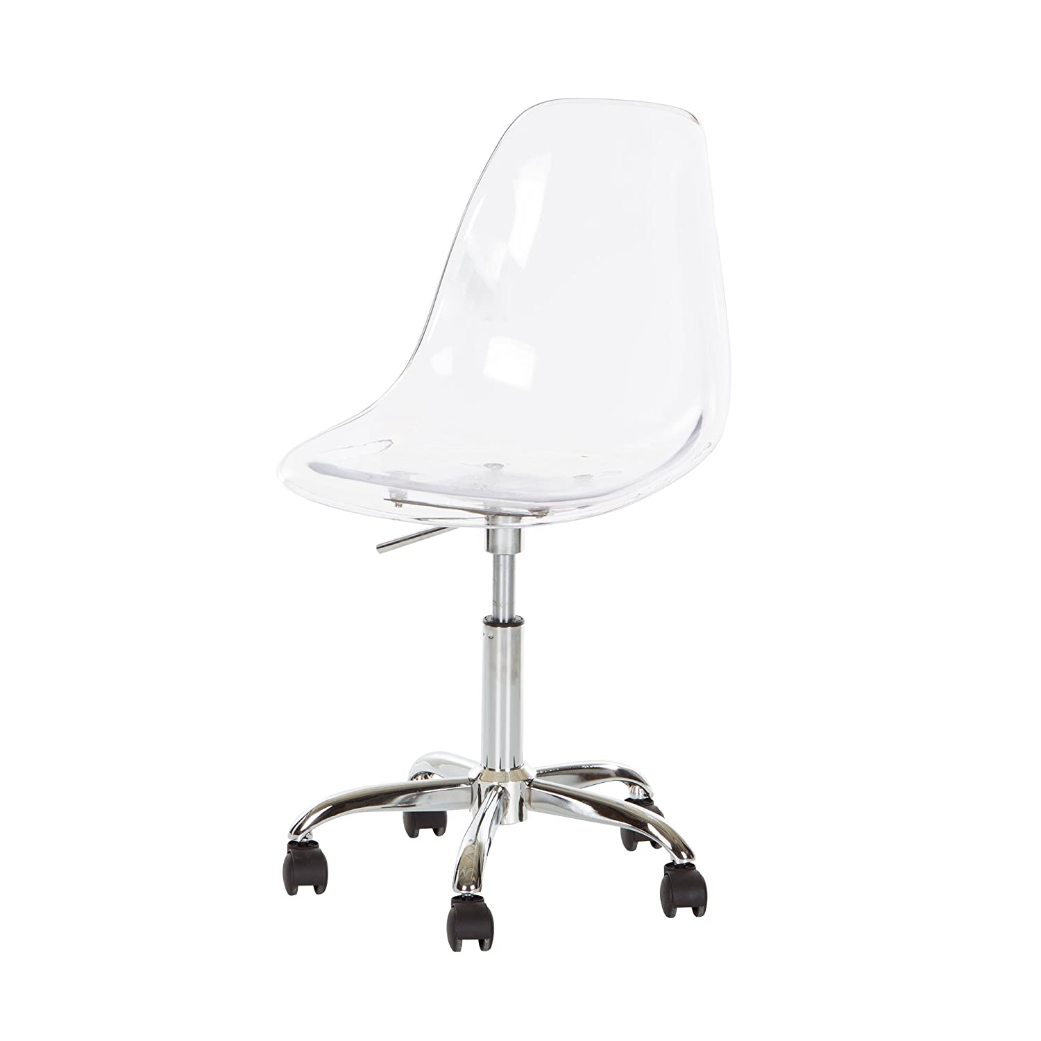Amazon.com: South Shore Clear Acrylic Office Chair with Wheels: Kitchen &  Dining