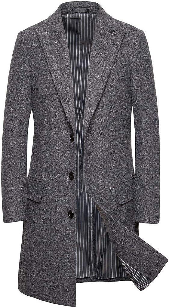 Men's Business Long Slim Trench Coat Casual Jacket Woolen Windbreaker Overcoat Beautyfine