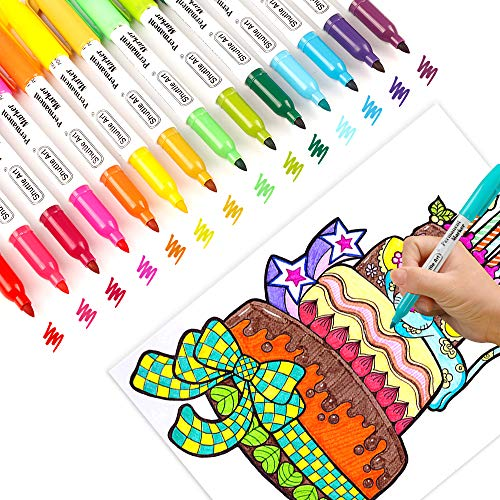 30 Colors Permanent Markers, Fine Point, Assorted Colors, Works on Plastic,Wood,Stone,Metal and Glass for Kids Adult Coloring Doodling Marking by Shuttle Art