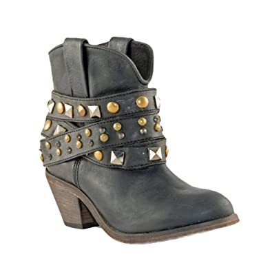 9be75b18b515 CORRAL Women s P5021 Studded Strap Ankle Black Fashion Boots ...