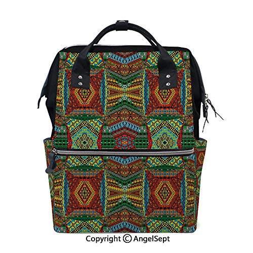 Fashion Backpack Multi-Function Nappy Bags,Collage of Ethnic Native Motifs Ancient Art Traditional Old Fashioned Cultural Decorative Multicolor,15.7 inches,for Mom & Dad, Travel Back Pack from oobon