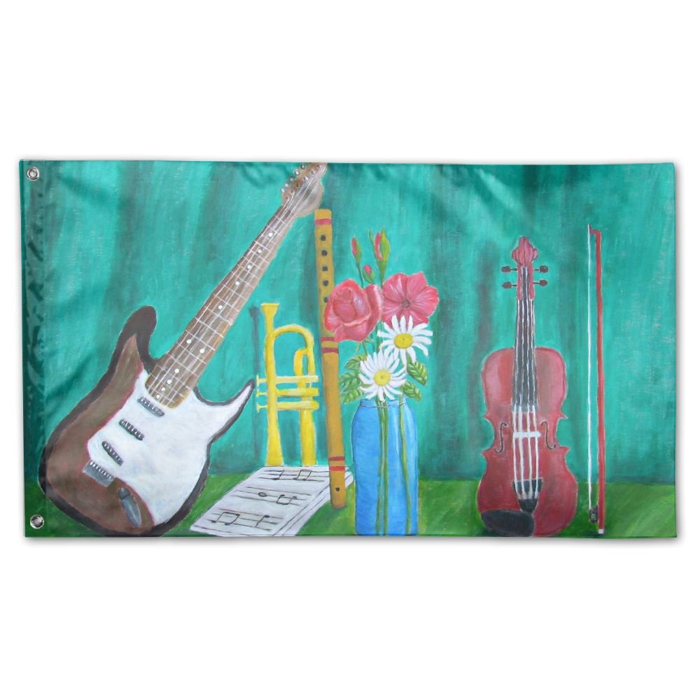 THEBEST Watercolour Music Instruments Polyester Flag 3' x 5' - Double Side Print Home Outdoor Patio Yard Decor Banner