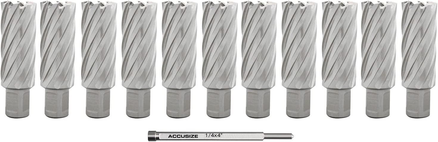Accusize Industrial Tools 13//16 X2 Cutting Depth H.S.S 2081-2018Pin Annular Cutterwith 1 Pc Pilot Pin