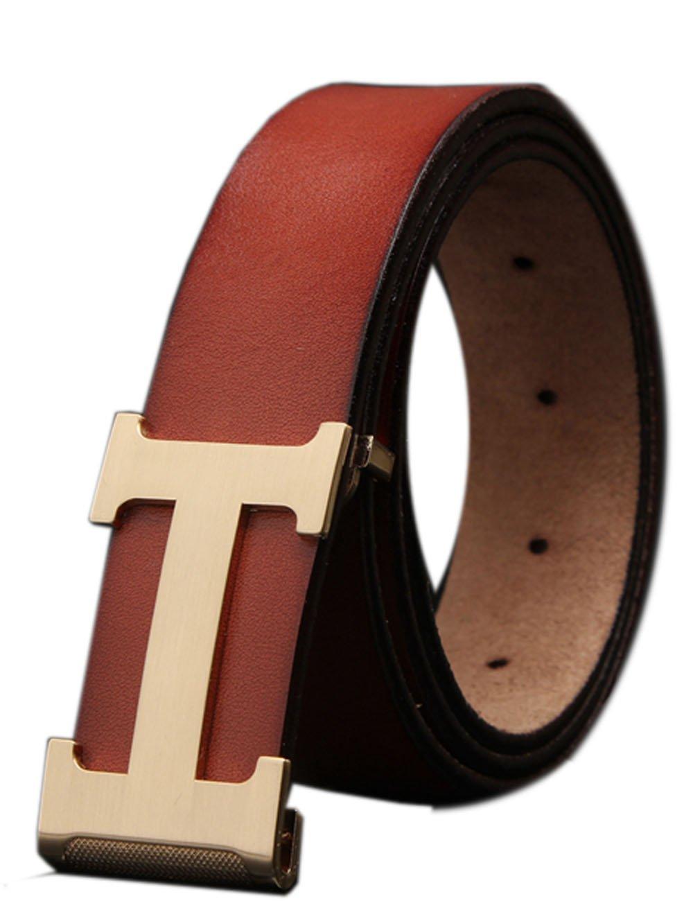 Menschwear Men's Geniune Leather Belt Slide Metal Buckle Adjustable Waistband 35MM Coffee125cm