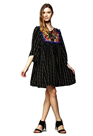 6fdb0a9da Velzera Women s Vintage Embroidered Tunic Mini Dress Boho Chic Reg   Plus  Size (Medium
