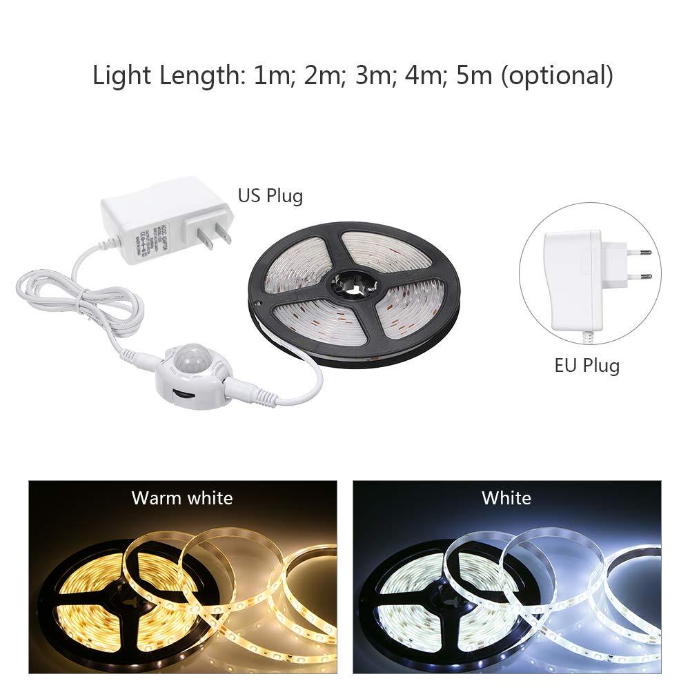 Festnight DC 12V PIR Tiras de sensores de Movimiento Luz Debajo de la Cama Luz 1M-5M Inducci/ón LED L/ámpara de Noche para Armario Armario Escaleras de Noche