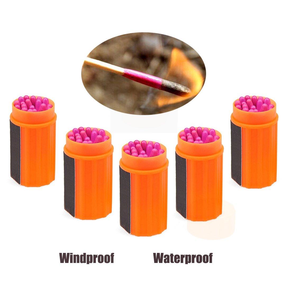 Cerillas KRY. Cerillas de supervivencia impermeable y a prueba de viento con cabeza extragrande, herramienta para al aire libre, campamentos, senderismo o emergencia