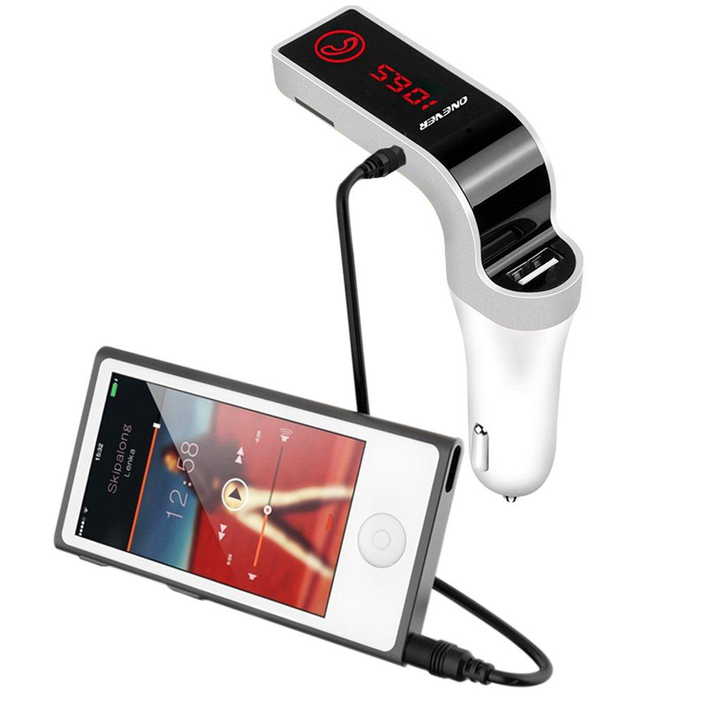 Onever kit trasmettitore FM//vivavoce per auto Bluetooth//wireless compatibile con lettore musicale MP3/con USB di ricarica da auto per IPHONE7/7s Samsung Galaxy S5/slot per schede TF 3.5/mm AUX ADAT