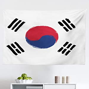 """Ambesonne Korean Flag Tapestry, South Korea Country Concept Grunge Painting, Fabric Wall Hanging Decor for Bedroom Living Room Dorm, 45"""" X 30"""", Coconut Dark Pink Night Blue and Charcoal Grey"""