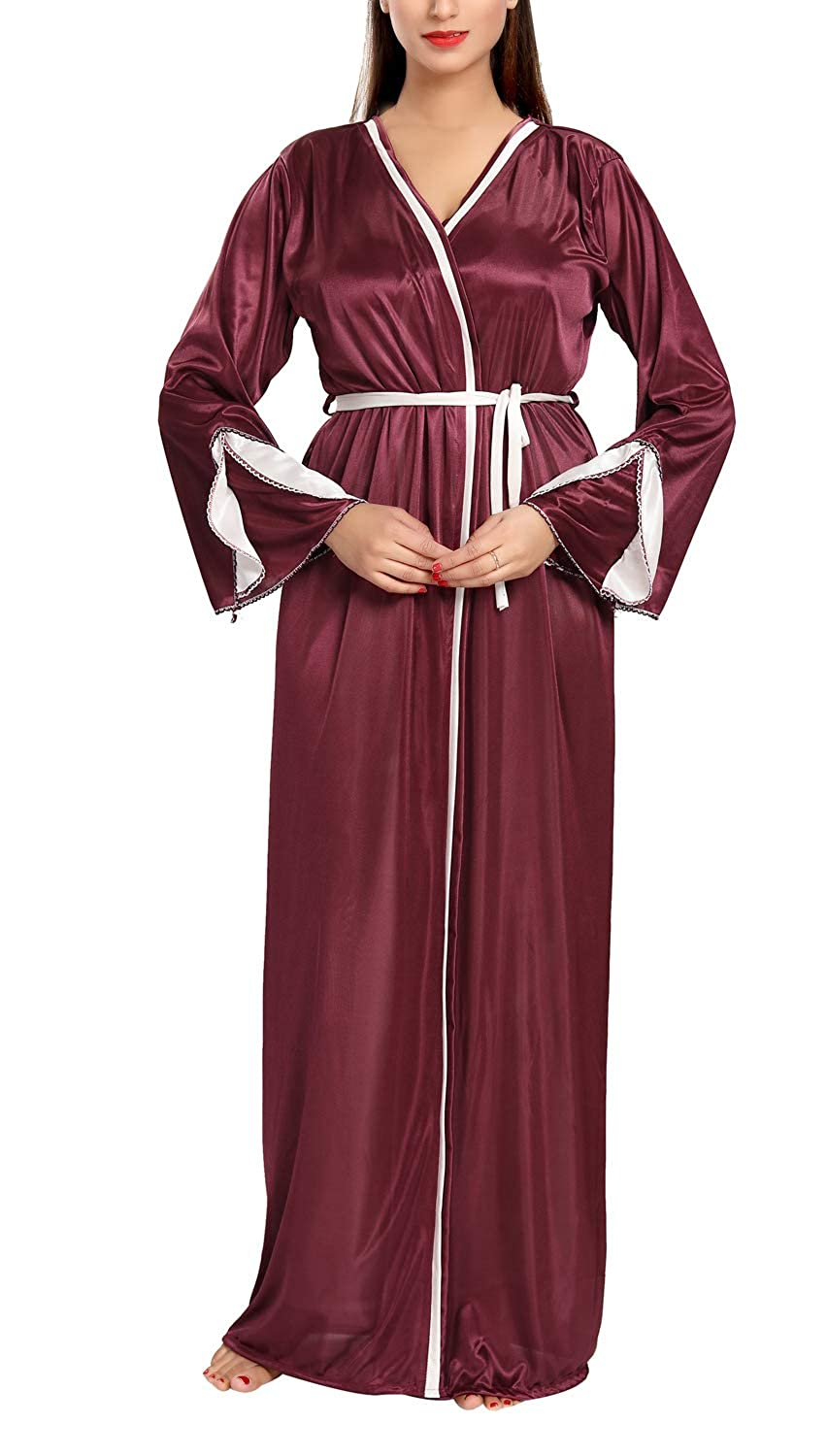 Be You Fashion Women Satin Wine color Solid 2 piece Nighty Set at Amazon  Women s Clothing store  df1d89d36