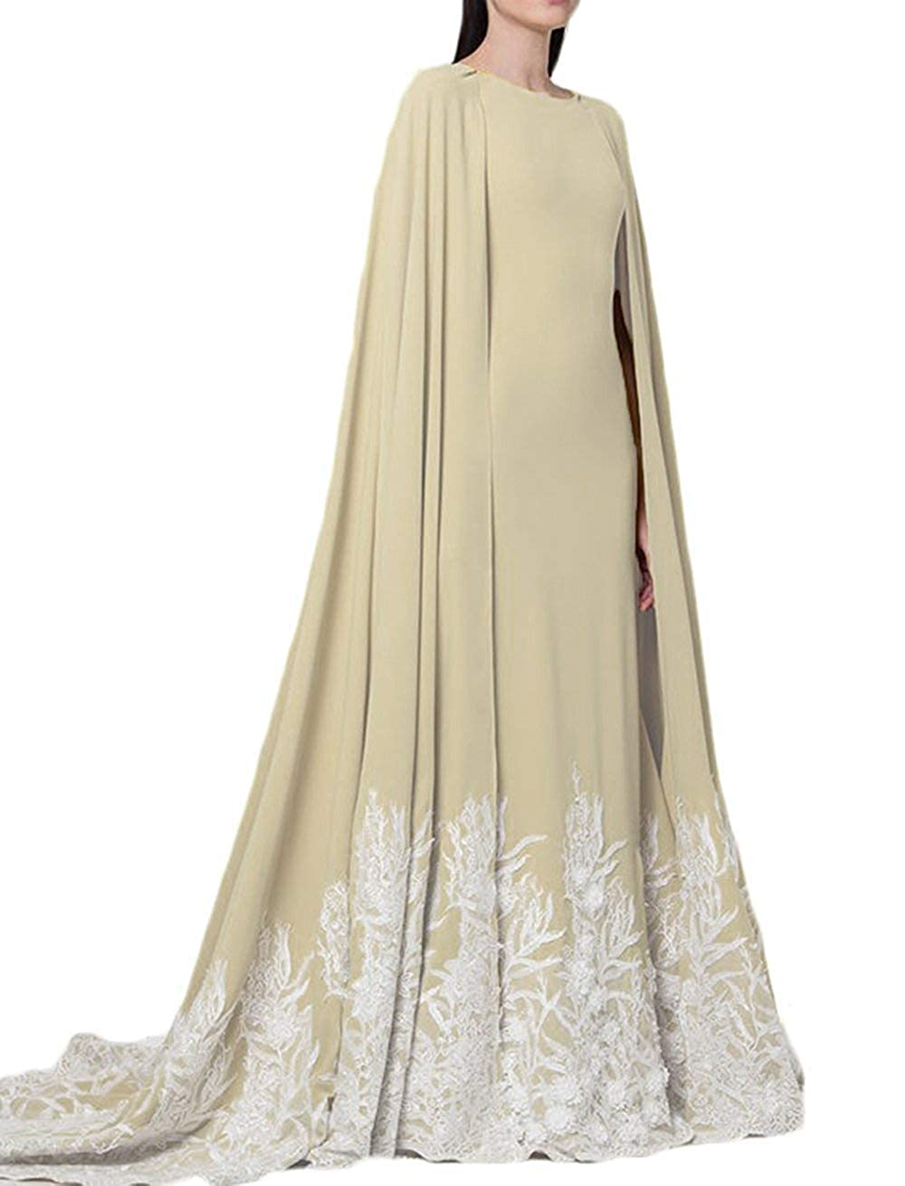 Champagne Dreagel Elegant Mermaid Prom Formal Dresses with Cape Lace Appliques Evening Gowns