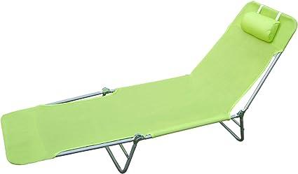 HOMCOM Tumbona Inclinable Plegable para Jardin Playa o Piscina con ...