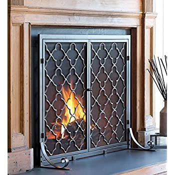 Amazoncom Plow Hearth Floral Large Fireplace Screen with Doors