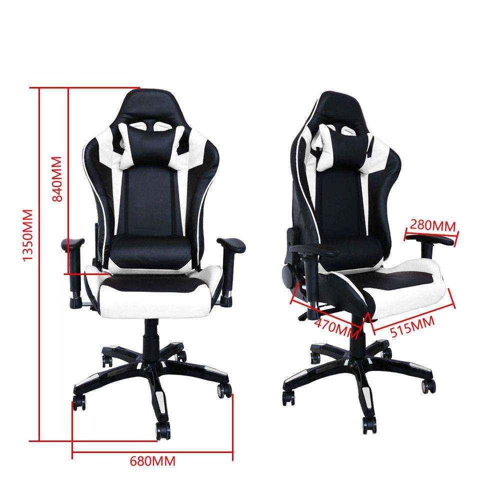 huigou HG Silla Giratoria De Oficina Gaming Chair Apoyabrazos Acolchados Silla Racing (Negro/Blanco): Amazon.es: Hogar