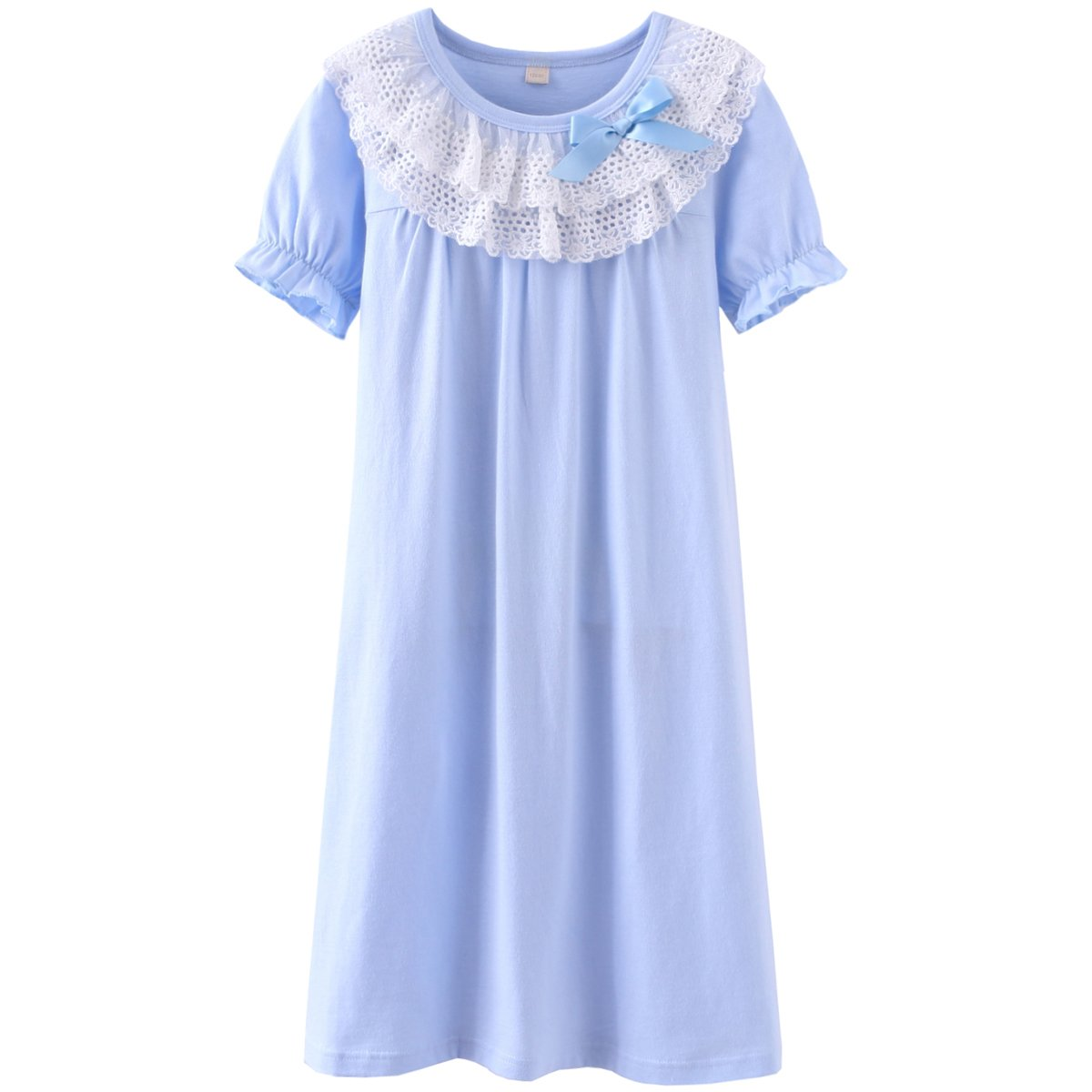 DGAGA Little Girls Princess Nightgown Cotton Lace Bowknot Sleepwear Nightdress Blue 11-12 Years/160cm
