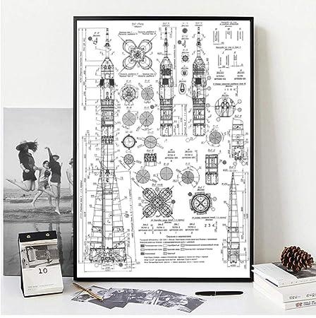 Stampa Su Tela Poster E Stampe Vintage Ruso Cohete Soyuz ...