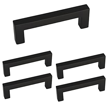 Wonderful 3 Inch Black Square Kitchen Cabinet Handles 5 Pack   HDJ12BK Bathroom  Storage Cabinet Door Hardware