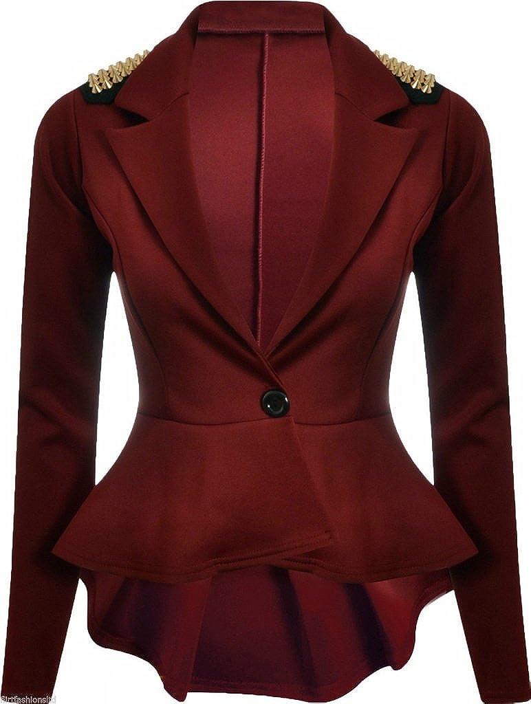 01e896f5c146 Islander Fashion s Damen Knopf Blazer Lange Ärmel Klar Spikes Schulter  Schößchen Kostüm (EU 36 - EU 54)  Amazon.de  Bekleidung