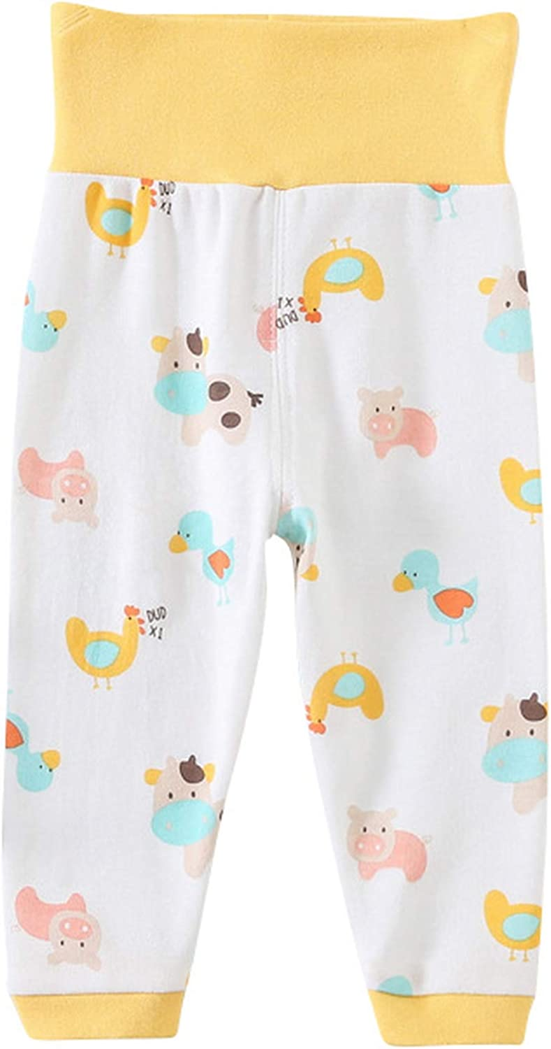 La vogue Baby Boys Girls Organic High Waist Casual Leggings Cartoon Printed Sleepwear Pajama Pants