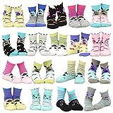 TeeHee Kids Girls Fashion Cotton Fun Crew 18 Pair Pack Gift Box (6-8Y, Cat-Dog-Pig Face)