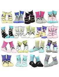 TeeHee Kids Girls Fashion Cotton Fun Crew 18 Pair Pack Gift Box