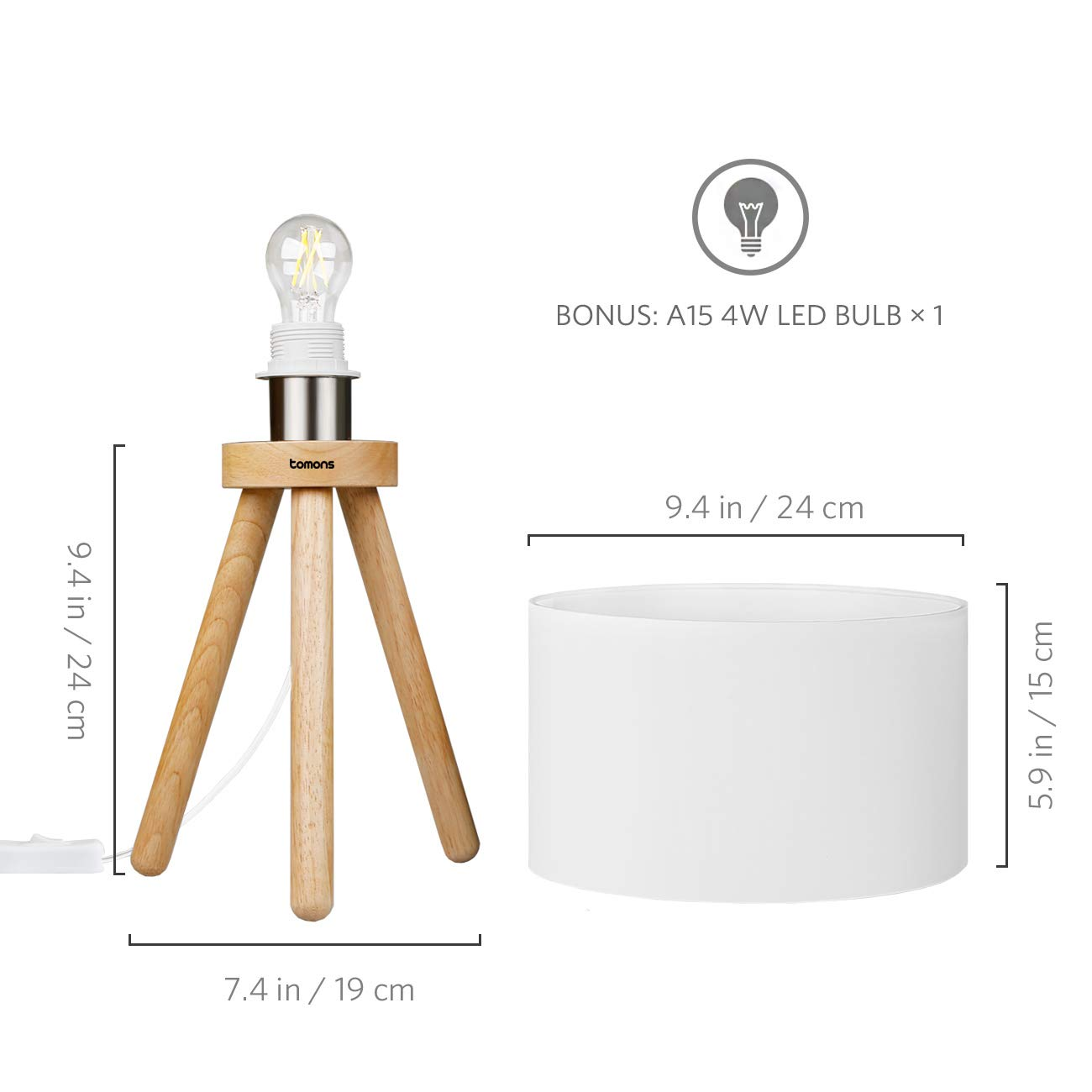 Tomons Wood Tripod Bedside Lamp, Simple Design with Soft Light for Bedroom Decorated in Warm and Cozy Ambience, Polyester White Fabric Lampshade, Packaged with 4W LED Bulb, Warm White Light, 39cm High by Tomons (Image #7)