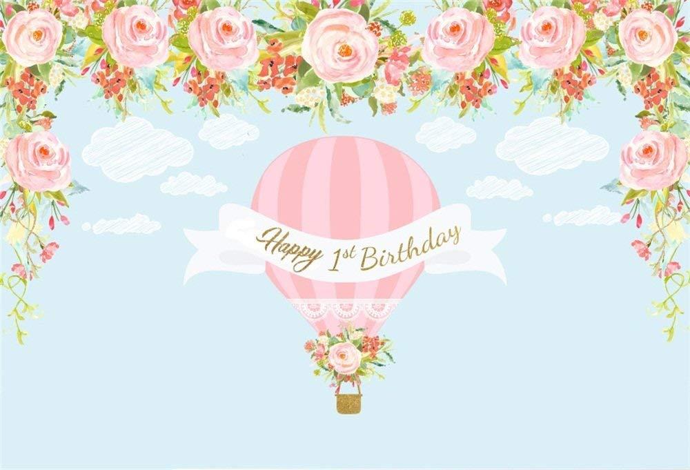 OFILA Baby Girls 1st Birthday Backdrop 7x5ft Hot Air Balloons Theme Birthday Party Decoration Happy 1st Birthday Background Flowers Clouds Baby Birthday Portraits Digital Video Studio Props