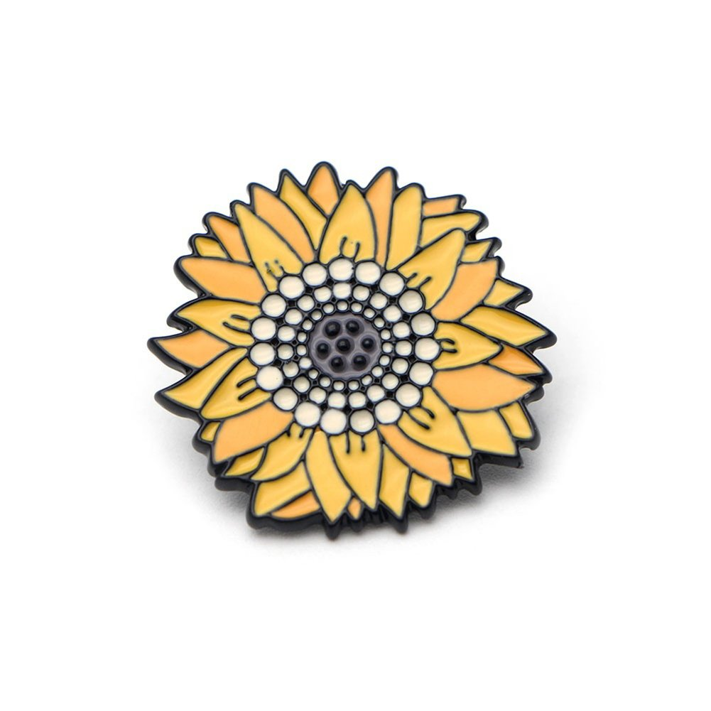 funie Fashion Unisex Sunflower Brooch Pin Badge Enamel Backpack Bag Jeans Decoration 47626_DLW