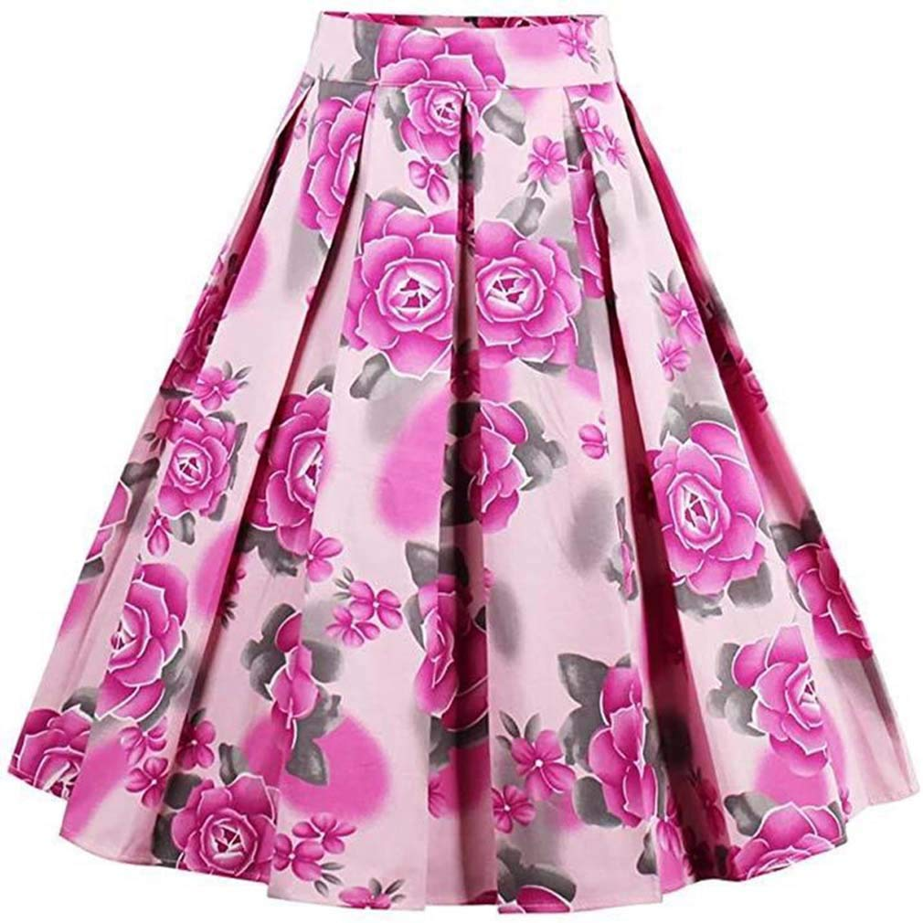 ADM6 De Las Mujeres Falda Plisada Vendimia Rose imprimió la Falda ...