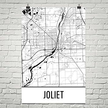Amazoncom Joliet Map Joliet Art Joliet Print Joliet IL Poster