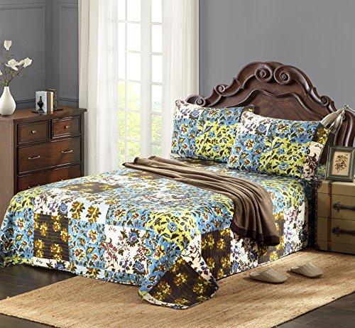 Tache Home Fashion KST1504-King 3 Piece 100% Cotton Floral Blue Mystical Autumn Leaves Reversible Bedspread Quilt Set, - Quilt Autumn Leaves