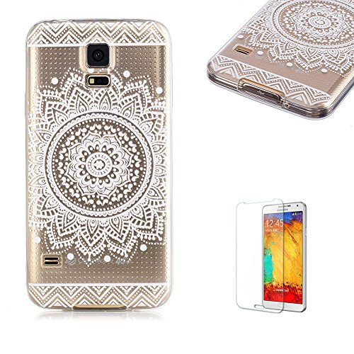 Samsung Galaxy S5 Case with Free Screen Protector,Funyye Slim Colorful Print Anti Scratch Soft Gel TPU Bumper Clear Case for Samsung Galaxy S5 - Mandala Flower - Holster Liquid Boy Bag