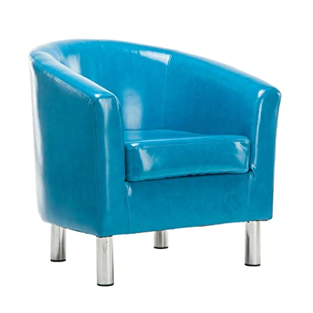 a7c5729e9 DEER HUNTER Wax Oil Leather Tub Armchair Dining Room Office Reception Chair  (Aqua Blue