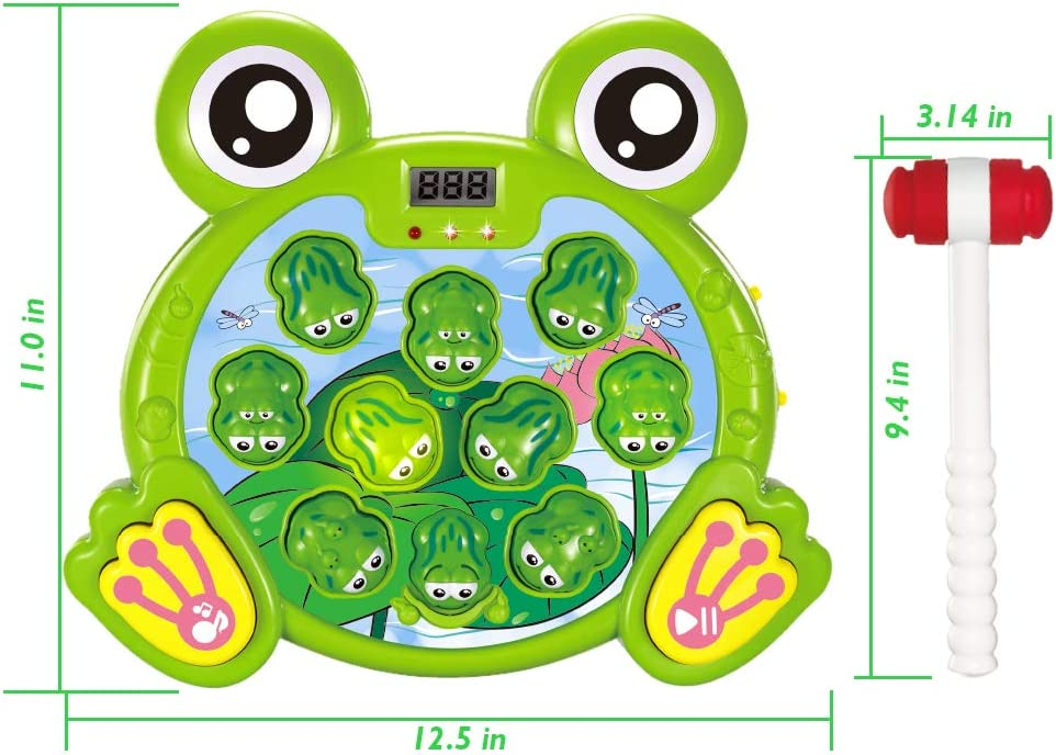 Fun and Learning Gift for Kids Frog 2 Hammers Included Toddlers Early Developmental Toys SKYFIELD Interactive Whack A Frog Game for Boys and Girls 2 3 4 5 6 Years Old