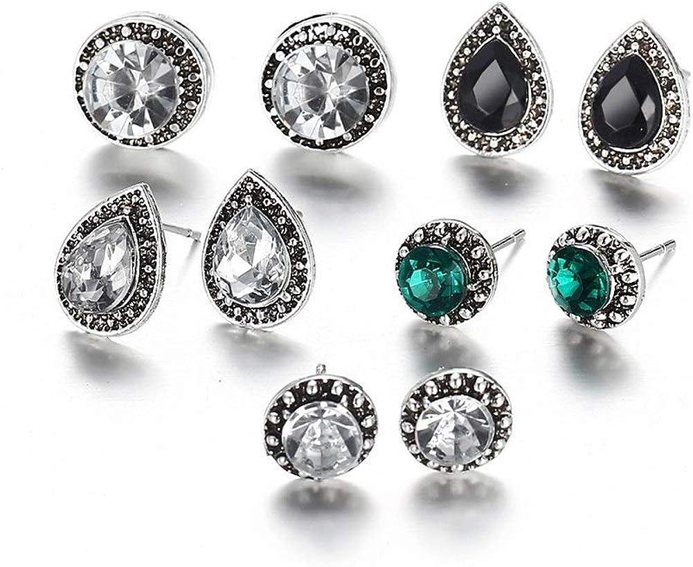Pendientes Mujer Pendientes Ear Cuff 5 deslumbrantes pendientes azul y negro diamante de cristal de Bohemia pendientes a juego