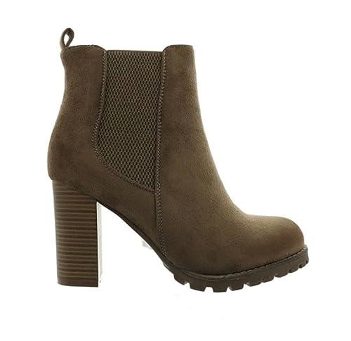 Damen Stiefeletten Ankle Boots Plateau Stiefel Schuhe 7