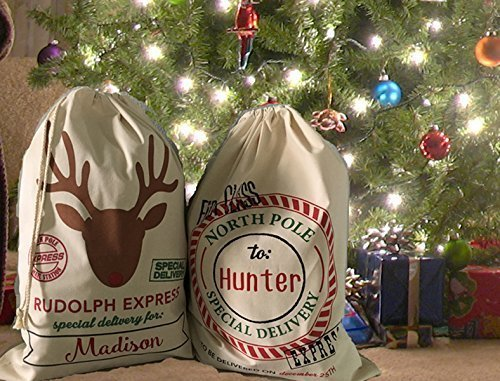 personalized christmas sack santa reindeer mail rudolph first class express - Does Mail Get Delivered On Christmas Eve