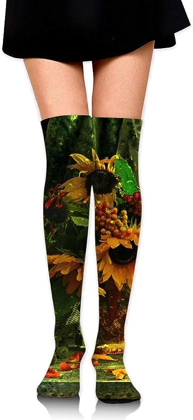 High Elasticity Girl Cotton Knee High Socks Uniform Sunflowers Women Tube Socks