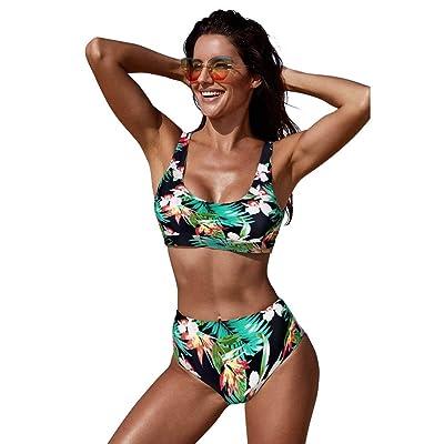 QIAO Bikini de Verano para Mujer, impresión/Cintura Alta/Gran tamaño/Espalda Abierta/Traje de baño de Playa de Secado rápido (S - 2XL),D,XXL: Hogar