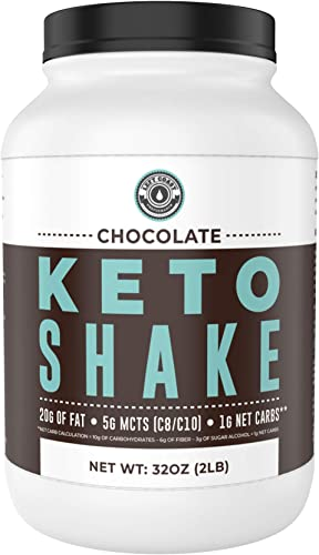 Keto Meal Replacement Shakes Chocolate, 2lbs , Low Carb Keto Protein Shake Mix MCT Powder, Grass Fed Hydrolyzed Collagen Peptides, Keto Breakfast Shake, 20g fat, 14g protein, 1 Net Carb, Zero Sugar