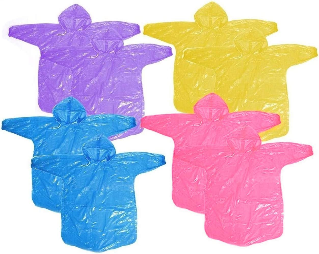 HUABEI 8 Pack Disposable Kids Rain Poncho,Packable Rain Coat with Drawstring Hood,Pack for Emergency - Lightweight, Super Waterproof for Camping Hiking Disney Traveling Fishing Outdoor-Assorted Colors